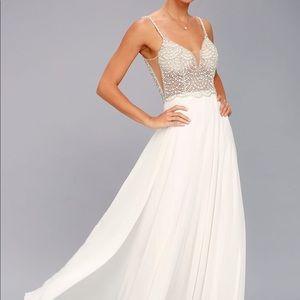 Lulus White Beaded Maxi Dress Size 2